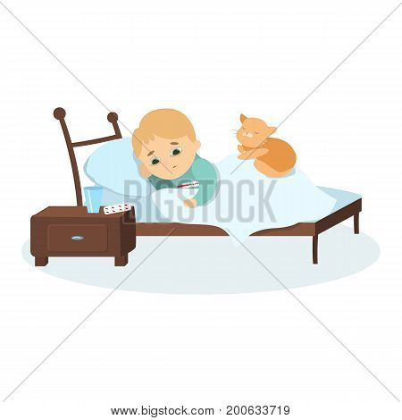Isolated sick boy in bed with fever and cat on white background.
