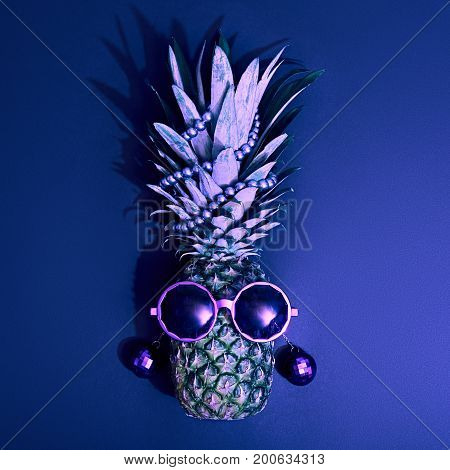 Fashion Hipster Pineapple Fruit. Beach Art Gallery Design.Tropical pineapple with Disco Sunglasses. Hot Summer Glamour Luxury Beach Vibes. Creative Fun Art Style.Minimal. Summer party Mood, Night club