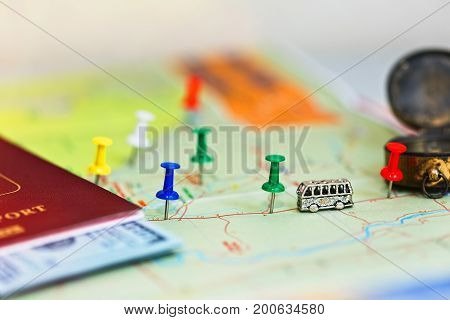 Travel Concept - Map With Pins And Accessories
