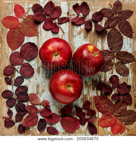 Flat lay frame of autumn crimson leaves with apples on a blue wooden background. Selective focus.