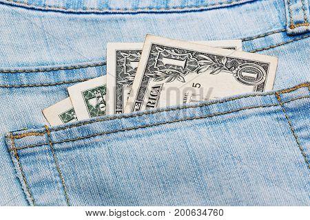Few Dollar Notes In Jeans Pocket