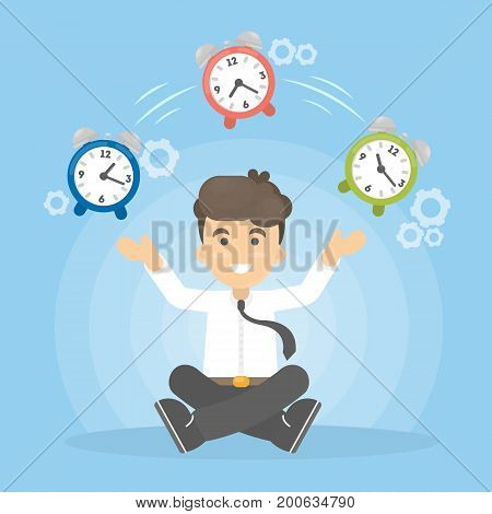 Time management concept. Man juggles with alarm clock.
