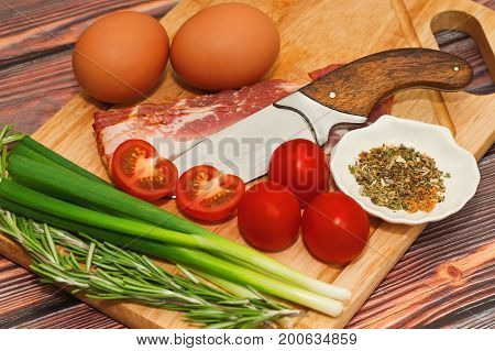 Raw Ingredients For Omelet Cooking