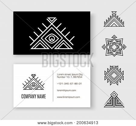 Black white pattern business card ethnic element. Black and white sample visit card with an extra Aztec elements for designers and illustrators. Ethnic set vector illustration