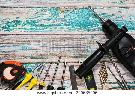 Hand Tools And Drilling Machine - Top View