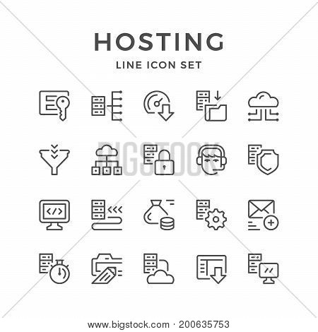 Set line icons of hosting isolated on white. Vector illustration