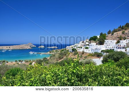 Lindos old town on Greek Rhodes island