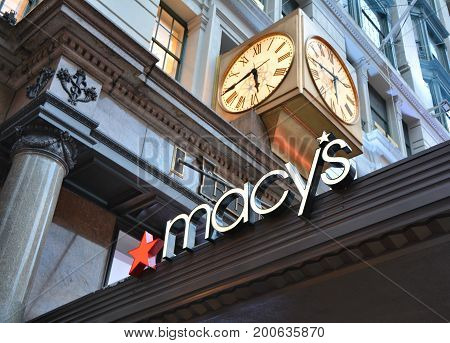 NEW YORK CITY USA - OCTOBER 18 2014 : Macy's store on Herald Square in Manhattan. Macy's is a famous department store