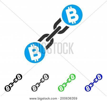 Bitcoin Blockchain flat vector illustration. Colored bitcoin blockchain, gray, black, blue, green pictogram versions. Flat icon style for web design.