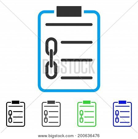 Blockchain Contract flat vector pictogram. Colored blockchain contract, gray, black, blue, green icon variants. Flat icon style for application design.