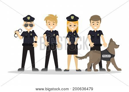 Police staff set. Men and woman with dog in black uniform.