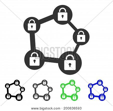 Blockchain Network flat vector icon. Colored blockchain network, gray, black, blue, green icon versions. Flat icon style for web design.