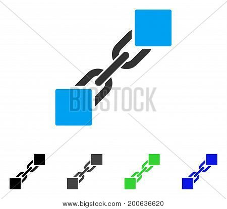 Blockchain flat vector illustration. Colored blockchain, gray, black, blue, green icon variants. Flat icon style for application design.