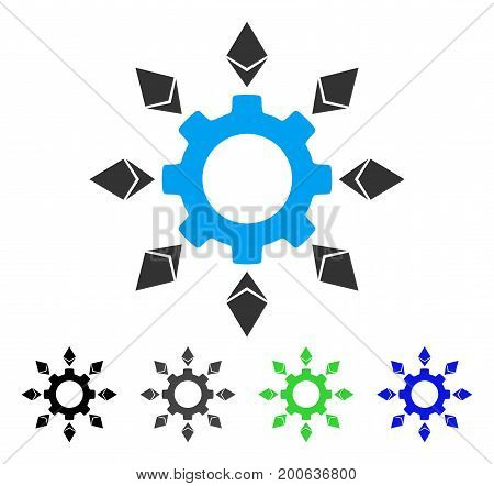 Ethereum Configuration Gear flat vector icon. Colored ethereum configuration gear, gray, black, blue, green icon variants. Flat icon style for application design.