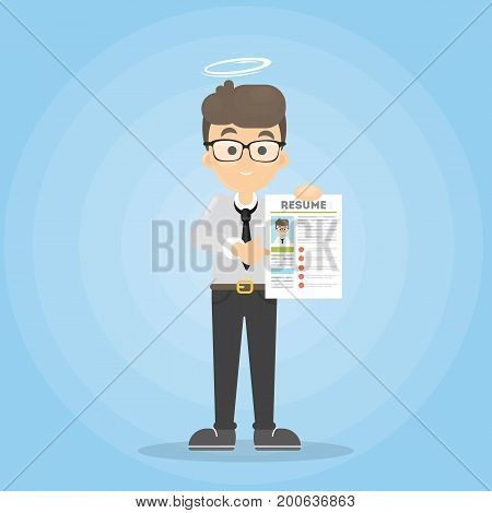 Man with nimbus standing with resume. Finding good candidate.