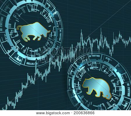 Bull and bear symbols and price chart.Modern stock exchange concept.