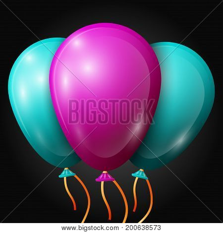 Realistic turquoise, purple balloons with ribbons isolated on black background. Vector illustration of shiny colorful glossy balloons