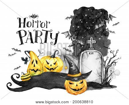 Watercolor landscape. Old grave, holidays pumpkins and flock of bats . Halloween holiday illustration. Magic, symbol of horror. Scary Night. Can be use in holidays design, posters, invitations, cards