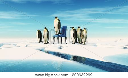 Penguin leader sits on a chair in the snow with his team. Team concept. This is a 3d render illustration