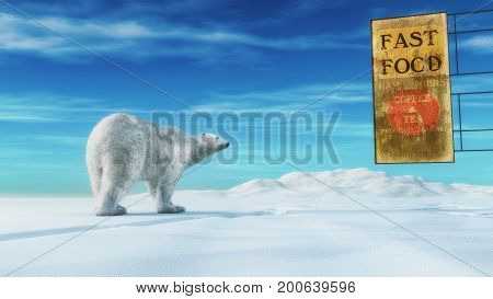A polar bear in the snow before a cafe - conceptual image. This is a 3d render illustration