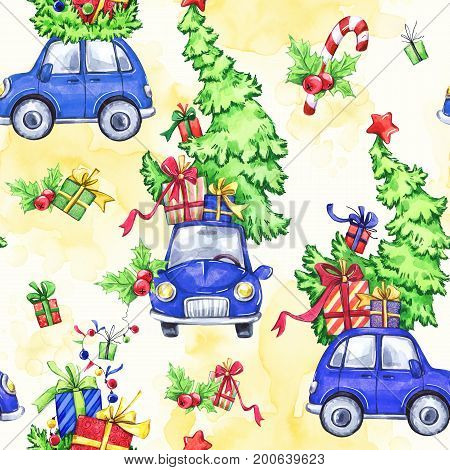 Watercolor seamless pattern with cartoon holidays cars, trees and gifts. New Year. Celebration illustration. Merry Christmas. Can be use in winter holidays design, posters, invitations, cards.