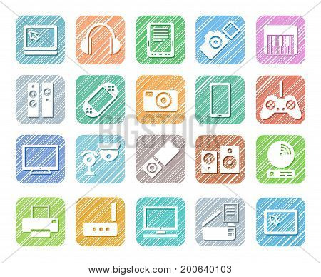 Video electronics, audio electronics, icons, colour, shading, vector. Pictures of gadgets, games consoles and audio equipment. Hatching with colored pencil, imitation.
