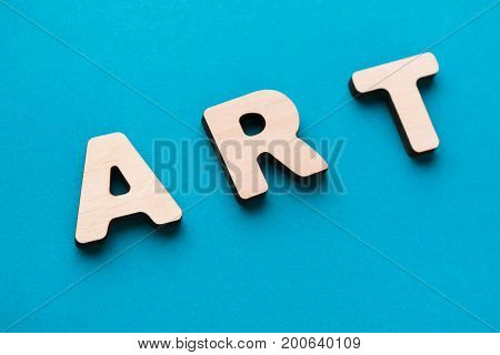 Word Art on blue background, closeup. Creativity, craftsmanship, modern life concept