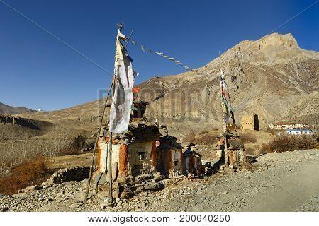Buddhist chorten in Muktinath village, Himalayas Nepal