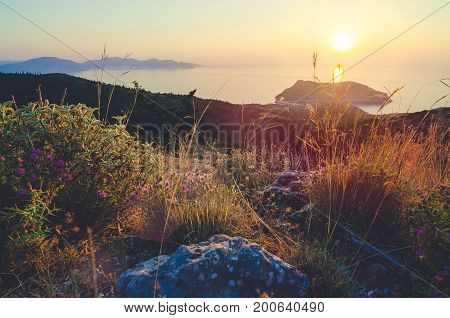 Sunset over Frourio Island and Asos Village. Ionian Islands - Cephalonia Kefalonia. Greece.