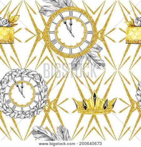 Watercolor seamless pattern in retro gold style. Jewellery diadem and clocks, fir branches, golden cake on white geometry. Vintage New Year illustration. Ready for anniversary and holidays design.
