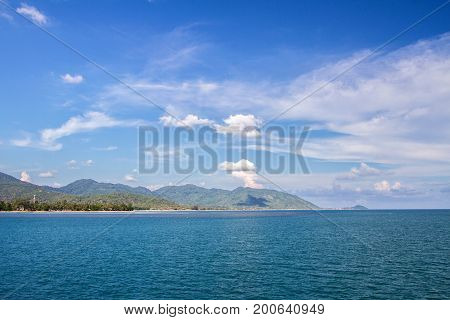 Calm Of Horizon Sea Ocean And Blue Sky Background Koh Phangan Thailand
