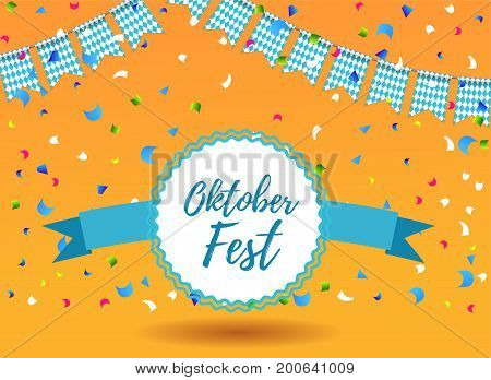 Oktoberfest background with garlands having blue-white pattern and lettering Oktoberfest logo or stamp with ribbon. Bavarian beer fest background celebrate with beautiful realistic garland. Vector