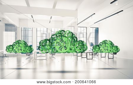 Cloud computing and networking shown like gears and cogwheels engine. 3d rendering