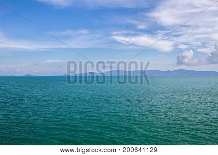 Sea Surface Calm Of Horizon Sea Ocean And Blue Sky Background