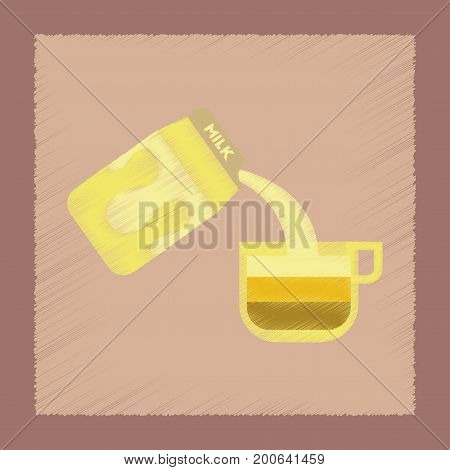 flat shading style icon coffee carton milk