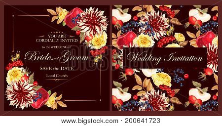 Vector vintage invitation with high detailed flowers
