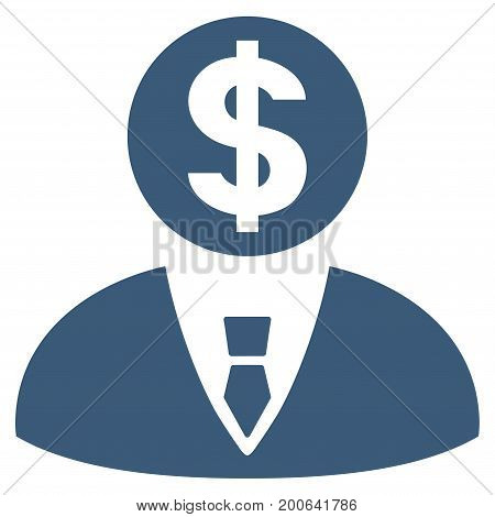 Banker vector icon. Flat blue symbol. Pictogram is isolated on a white background. Designed for web and software interfaces.