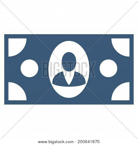Banknote vector icon. Flat blue symbol. Pictogram is isolated on a white background. Designed for web and software interfaces.