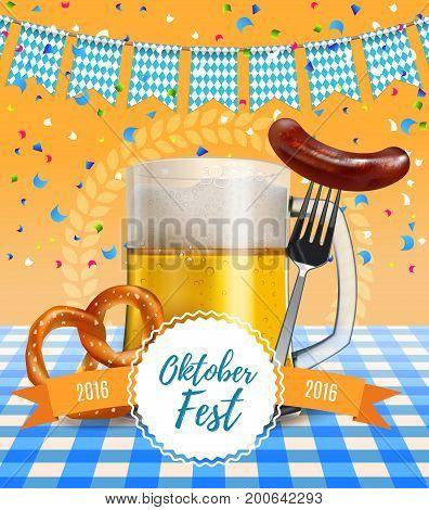 Oktoberfest poster. German beer festival poster with realistic beer mug, pretzel and Bavarian sausage on a fork. Vector illustration poster invitation. EPS 10