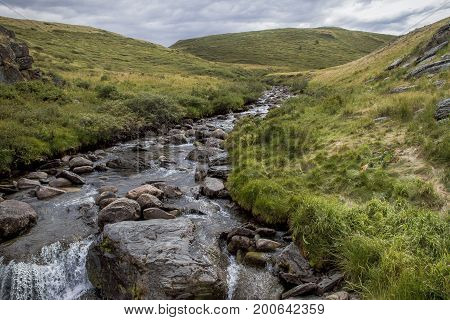 Steppe Mountain Grass River Nature Landscape Sky Canyon Field Rock Stream Waterfall Brook Water Clou
