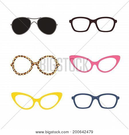 glasses in different colors and forms, set glasses, vector illustration, isolated on white background