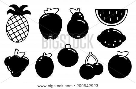 Set of fruits black silhouette various on a white background. Abstract design logo. Flat design Vector Illustration