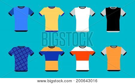 Types of jerseys set. simple icons of main jerseys . Yellow, red, blue, white pullovers isolated on blue background. Flat design Vector Illustration