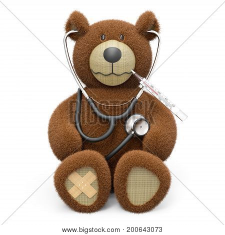Teddy bear with stethoscope plaster and thermometer isolated on white background 3D rendering