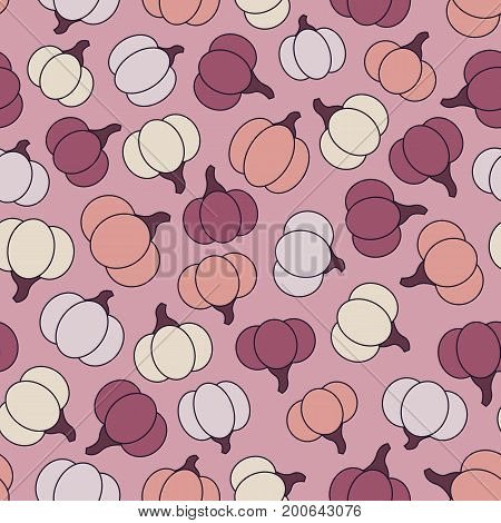 Colorful vector seamless pattern with purple yellow and orange pumpkins on the pink background. Halloween design.