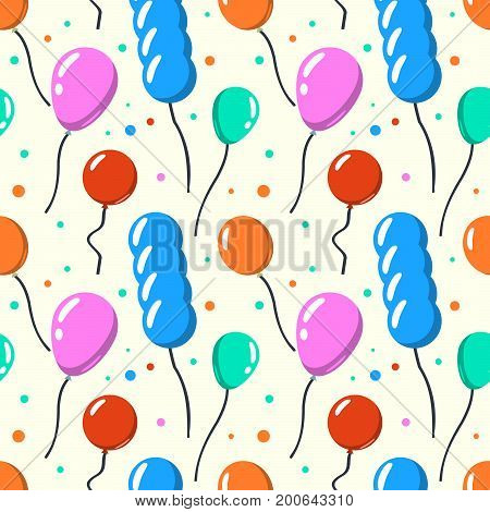 Party baloon seamless pattern. Cartoon balloons celebration on yellow background. Flat design Vector Illustration