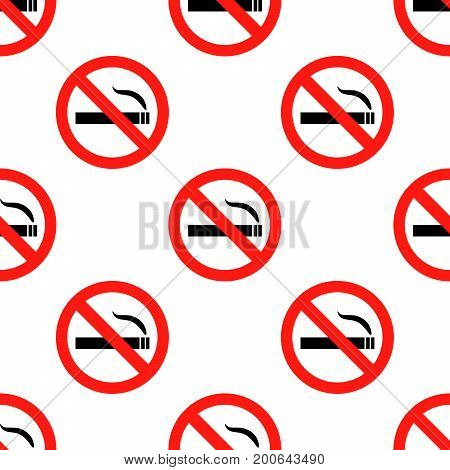 No smoking sign pattern seamless on white background. Flat design Vector Illustration