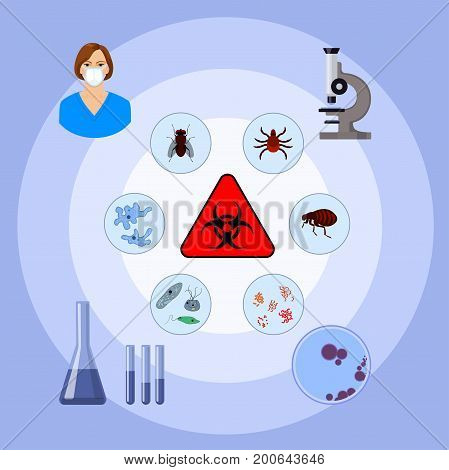 medical and biohazard infographic with icons of microbiology and chemistry