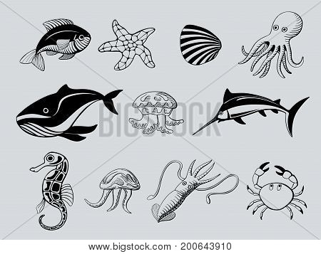 set of ink hand drawn icons of aquatic animals
