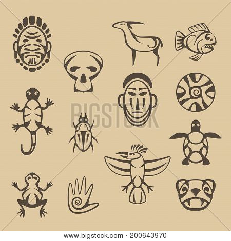 set of american indian stylized traditional decorative elements